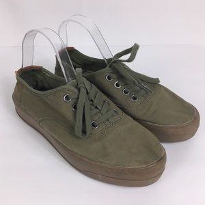 Mad love army green canvas lace up casual sneakers